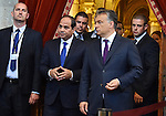 Egyptian President Abdel Fattah al-Sisi and Hungarian Prime Minister Viktor Orban inspect the honour guard in front of the parliament building in Budapest on June 5, 2015 during his welcoming ceremony. The Egyptian guest is on a two-day official visit to the Hungarian capital. Photo by Egyptian Presidency