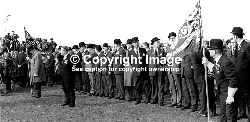The bowler hat brigade - section of the massive attendance at the Ulster Vanguard Rally in Ormeau Park, Belfast, N Ireland, 18th March 1972, 19720318010105<br />