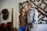 Los Angeles, California, November 14, 2009 - Portrait of Diane and Ernie Wolfe in their home, based on a Quonset hut. The Wolfe's own the Ernie Wolfe Gallery and are the most reknowned African at dealers in the country. ..CREDIT: Daryl Peveto/LUCEO for The Wall Street Journal.Homefront - Ernie Wolfe #1348.