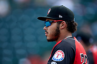 Isaias Quiroz (22) of the Hickory Crawdads watches from the dugout during the game against the Lakewood BlueClaws at L.P. Frans Stadium on April 28, 2019 in Hickory, North Carolina. The Crawdads defeated the BlueClaws 10-3. (Brian Westerholt/Four Seam Images)