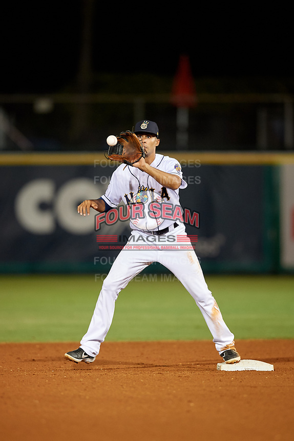 New Orleans Baby Cakes second baseman Yadiel Rivera (2) during a Pacific Coast League game against the Oklahoma City Dodgers on May 6, 2019 at Shrine on Airline in New Orleans, Louisiana.  New Orleans defeated Oklahoma City 4-0.  (Mike Janes/Four Seam Images)