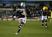 9th February 2018, The Den, London, England; EFL Championship football, Millwall versus Cardiff City; Ben Marshall of Millwall takes a free kick but goes over the bar