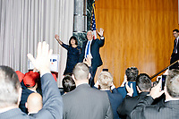 Vice President-elect Mike Pence and wife Karen Pence enter the the ballroom in the Midtown Hilton at the election night victory rally for Republican presidential nominee Donald Trump, after the presidential race was called for Trump in the early hours of Nov. 9, 2016.