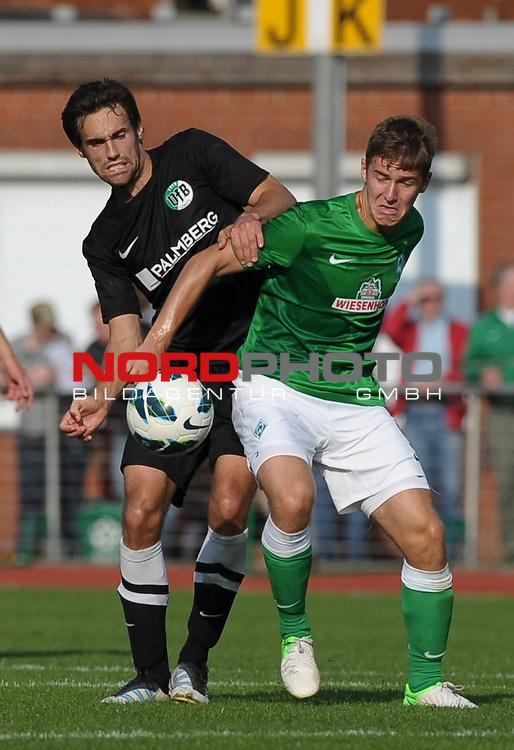 16.09.2012, Platz 11, Bremen, GER, RLN, Werder Bremen II vs VfB L&uuml;beck / Luebeck, im Bild Nedim Hasanbegovic (Luebeck #6), Martin Kobylanski (Bremen #9)<br /> <br /> // during the match Werder Bremen II vs VfB Luebeck on 2012/09/16, Platz 11, Bremen, Germany.<br /> Foto &copy; nph / Frisch