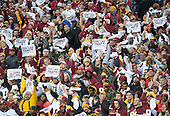 "Fans wave ""rally towels"" with Kirk Cousins' ""You Like That?!"" slogan during the Green Bay Packers - Washington Redskins NFC Wild Card game at FedEx Field in Landover, Maryland on Sunday, January 10, 2016.<br /> Credit: Ron Sachs / CNP"