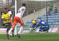 Blackpool's Kelvin Mellor brings a save from Oxford United's Simon Eastwood<br /> <br /> Photographer Mick Walker/CameraSport<br /> <br /> The EFL Sky Bet League One - Oxford United v Blackpool - Saturday 6th January 2018 - Kassam Stadium - Oxford<br /> <br /> World Copyright &copy; 2018 CameraSport. All rights reserved. 43 Linden Ave. Countesthorpe. Leicester. England. LE8 5PG - Tel: +44 (0) 116 277 4147 - admin@camerasport.com - www.camerasport.com