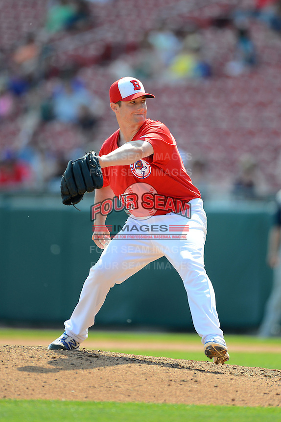 Buffalo Bisons pitcher Neil Wagner #15 during a game against the Charlotte Knights on May 19, 2013 at Coca-Cola Field in Buffalo, New York.  Buffalo defeated Charlotte 11-6.  (Mike Janes/Four Seam Images)