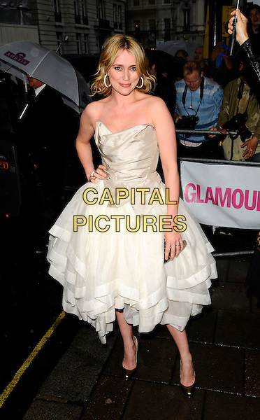 KEELEY HAWES.Outside arrivals at The Glamour Women of the Year Awards 2008, Berkeley Square Gardens, London, England. .June 3rd, 2008.full length strapless cream white dress hand on hip Vivienne Westwood style.CAP/CAN.©Can Nguyen/Capital Pictures.