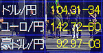 December 24, 2013, Tokyo, Japan - Japanese yen stays weaker against the U.S. dollar and Euro as the stock average rises to a six-year high during midday trading on the Tokyo foreign exchange market. The yen remains in the mid 104-yen mark against the dollar and upper 142-yen level against the euro.  (Photo by Natsuki Sakai/AFLO)