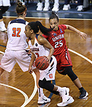 SIOUX FALLS, SD: MARCH 19:  Briana Smith #2 of Carson Newman drives in front of Union defender Chelsey Shumpert #25 during their game at the 2018 Division II Women's Elite 8 Basketball Championship at the Sanford Pentagon in Sioux Falls, S.D. (Photo by Dick Carlson/Inertia)