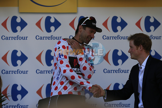 Jens Voigt (GER) Trek Factory Racing wins the 1st Polka Dot Jersey presented by HRH Prince Harry at the end of the 2014 Tour de France running 190.5km from Leeds to Harrogate. 5th July 2014.<br /> Picture: Eoin Clarke www.newsfile.ie