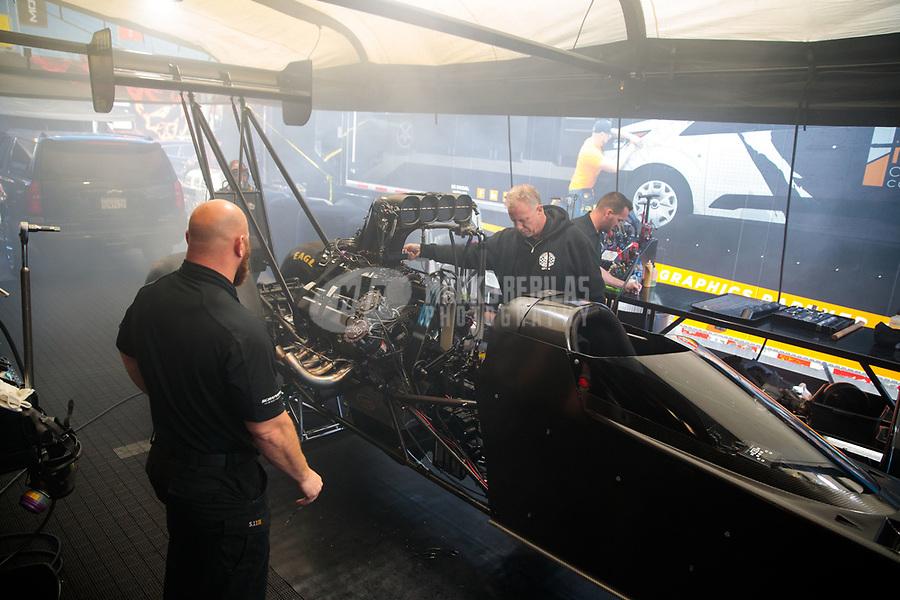 Apr 14, 2019; Baytown, TX, USA; Crew members for NHRA top fuel driver Mike Salinas during the Springnationals at Houston Raceway Park. Mandatory Credit: Mark J. Rebilas-USA TODAY Sports