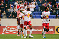 Thierry Henry (14) of the New York Red Bulls celebrates scoring during the first half against the Colorado Rapids during a Major League Soccer (MLS) match at Red Bull Arena in Harrison, NJ, on March 25, 2012.