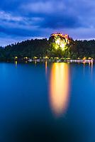 Lake Bled Castle at twilight, Slovenia. Bled, Julian Alps, Gorenjska, Upper Carniola Region, Slovenia, Europe