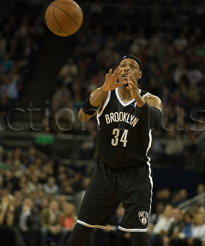 16.01.2014 London, England.  Brooklyn Nets' Forward Paul Pierce [34] in action during the NBA regular season game between the Atlanta Hawks and the Brooklyn Nets from the O2 Arena.