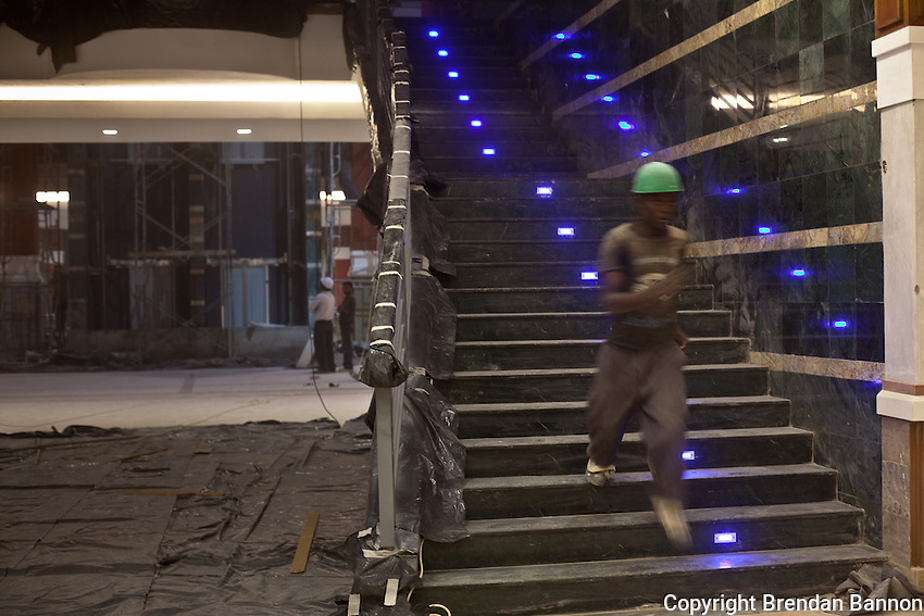 A construction worker inside the expanded Junction shopping center in Nairobi, Kenya.