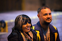 "Pictured: Artistic director Kully Thiarai and actor Simon Nehan<br /> Re: Press rehearsal of ""We'Re Still Here"", a play created by Rachel Trezise, Common Wealth and the National Theatre Wales about steelworkers, which will be performed in Byass Works, a disused industrial unit, in Port Talbot, south Wales, UK."