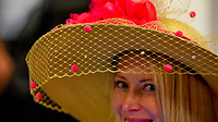 LOUISVILLE, KY - MAY 06: A woman wears fancy hat on Kentucky Derby Day at Churchill Downs on May 6, 2017 in Louisville, Kentucky. (Photo by Scott Serio/Eclipse Sportswire/Getty Images)