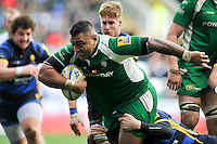 Halani Aulika of London Irish takes on the Worcester Warriors defence. Aviva Premiership match, between London Irish and Worcester Warriors on February 7, 2016 at the Madejski Stadium in Reading, England. Photo by: Patrick Khachfe / JMP