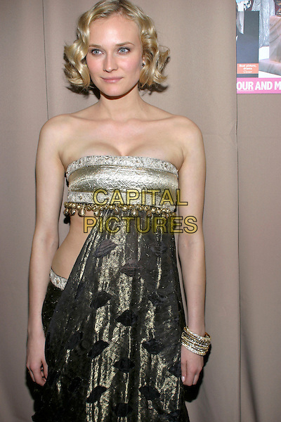 DIANE KRUGER.Miramax , Coors Light, AMC & Glamour Magazine present the 2005 Golden Globes After Party held Trader Vic's in the Beverly Hilton Hotel, Beverly Hills, California, USA, 16 January 2005..half length strapless dress cut out sides green velvet gold beads.Ref: ADM.www.capitalpictures.com.sales@capitalpictures.com.©Jacqui Wong/AdMedia/Capital Pictures .