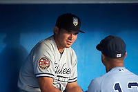 Staten Island Yankees Chris Godinez (2) in the dugout before a game against the Batavia Muckdogs on August 27, 2016 at Dwyer Stadium in Batavia, New York.  Staten Island defeated Batavia 13-10 in eleven innings.  (Mike Janes/Four Seam Images)