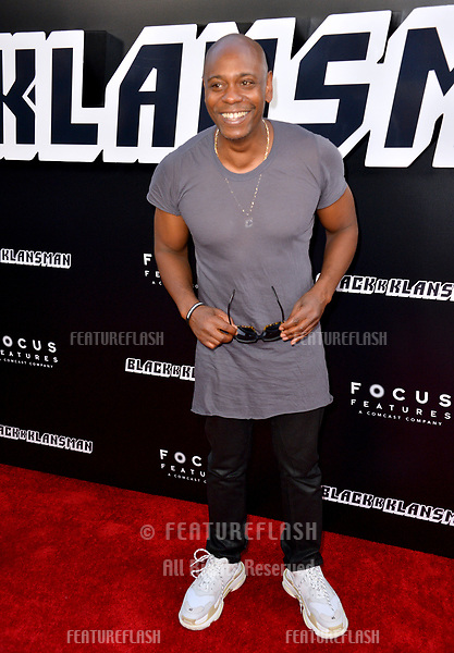 "Dave Chappelle at the Los Angeles premiere of ""BlacKkKlansman"" at the Academy's Samuel Goldwyn Theatre, Beverly Hills, USA 08 Aug. 2018<br /> Picture: Paul Smith/Featureflash/SilverHub 0208 004 5359 sales@silverhubmedia.com"