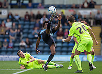 Side Jombati of Wycombe Wanderers stretches to control the ball during the Sky Bet League 2 match between Wycombe Wanderers and Hartlepool United at Adams Park, High Wycombe, England on 5 September 2015. Photo by Andy Rowland.
