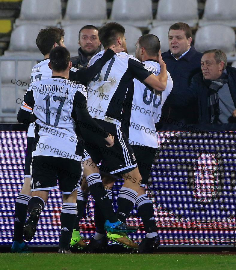 Fudbal Jelen Super League season 2015-2016<br /> Partizan v Borac (Cacak)<br /> Valeri Bozhinov (Bojinov) (C) celebrate the goal with the Milos Vazura and Ivica Ilijev<br /> Beograd, 16.12.2015.<br /> foto: Srdjan Stevanovic/Starsportphoto&copy;
