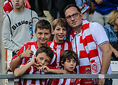 June 4th 2017, Estadi Montilivi,  Girona, Catalonia, Spain; Spanish Segunda División Football, Girona versus Zaragoza; A family supporting Girona in team colours