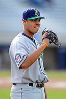 Cedar Rapids Kernels pitcher Josue Montanez #48 throws before a game against the Beloit Snappers on May 22, 2013 at Pohlman Field in Beloit, Wisconsin.  Beloit defeated Cedar Rapids 7-6.  (Mike Janes/Four Seam Images)