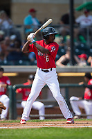 Urwin Juaquin (6) of the Billings Mustangs at bat against the Missoula Osprey at Dehler Park on August 20, 2017 in Billings, Montana.  The Osprey defeated the Mustangs 6-4.  (Brian Westerholt/Four Seam Images)