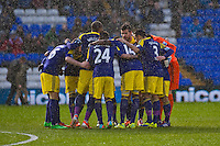 Saturday 25 January 2014<br /> Pictured: Swansea pre match huddle<br /> Re: Birmingham City v Swansea City FA Cup fourth round match at St. Andrew's Birimingham