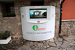 Electronic tourist information device in old town of Plovdiv, Bulgaria, eastern Europe