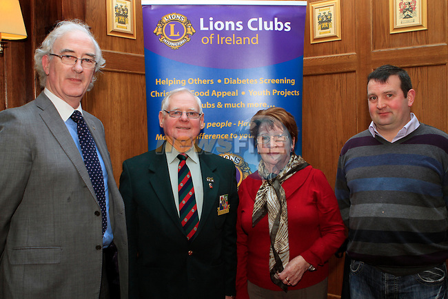 Pat McCoole from Thurles, District Governor Joe Smith, Monica Smith and Alan Clarke from Drogheda Lions Club at the Launch of the Lions Club at  Scholars Townhouse...Photo NEWSFILE/Jenny Matthews..(Photo credit should read Jenny Matthews/NEWSFILE)