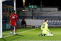 Sam Sargeant of Leyton Orient looks down beat after conceding during the The Leasing.com Trophy match between AFC Wimbledon and Leyton Orient at the Cherry Red Records Stadium, Kingston, England on 8 October 2019. Photo by Carlton Myrie / PRiME Media Images.