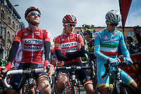 A confident Tim Wellens (BEL/Lotto-Soudal) before the start next to teammate/friend Louis Vervaeke (BEL/Lotto-Soudal) &amp; Vincenzo Nibali (ITA/Astana)<br /> <br /> 79th Fl&egrave;che Wallonne 2015