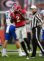 ATHENS, GA - OCTOBER 19: Richard LeCounte #2 of the Georgia Bulldogs celebrates a defensive play during a game between University of Kentucky Wildcats and University of Georgia Bulldogs at Sanford Stadium on October 19, 2019 in Athens, Georgia.