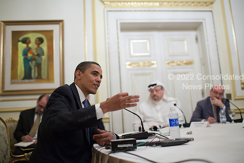 Cairo, Egypt - June 4, 2009 -- United States President Barack Obama speaks holds a roudtable interview with regional reporters at Cairo University  in Cairo, Thursday, June 4, 2009. .Mandatory Credit: Pete Souza - White House via CNP