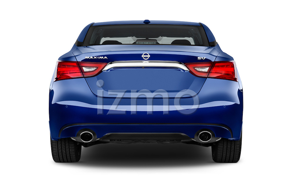 Straight rear view of2016 Nissan Maxima SV 4 Door Sedan Rear View  stock images