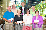 PRIZE WINNERS: The winner's of the Festival Support Group for Street Entertainment draw being presented with their prizes at the Abbey Inn on Thursday front l-r: Tommy King, Mary Farrell, Ann-Marie Heaslip and Kathleen McGuire all prize winners. Back l-r: Danny Lean (Chairman F.S.G.), Councilor Jim Finnucane (Peace Commissioner) and Sheila Sugrue (committee member F.S.G.).
