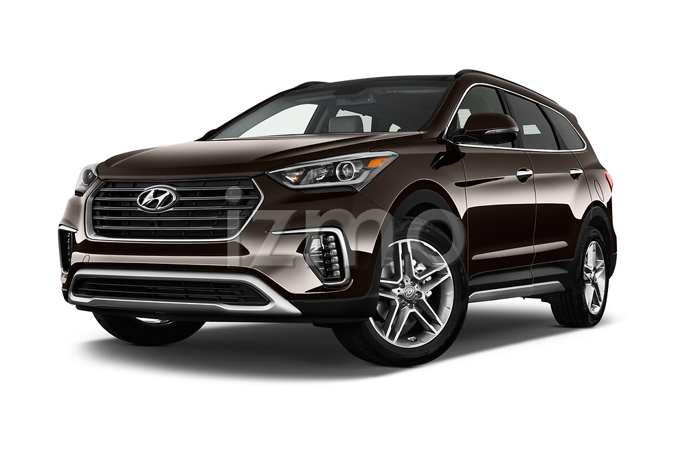 Stock pictures of low aggressive front three quarter view of 2017 Hyundai Santa-Fe Limited-Ultimate-FWD 5 Door SUV Low Aggressive