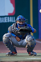 South Bend Cubs catcher Miguel Amaya (9) warms up a pitcher in the bullpen before a game against the Kane County Cougars on July 21, 2018 at Northwestern Medicine Field in Geneva, Illinois.  South Bend defeated Kane County 4-2.  (Mike Janes/Four Seam Images)
