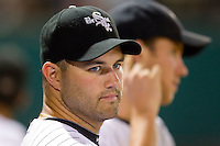 Brian Omogrosso #48 of the Bristol White Sox watches the action from the dugout at Boyce Cox Field August 27, 2010, in Bristol, Tennessee.  Photo by Brian Westerholt / Four Seam Images
