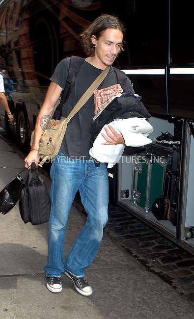 Brandon Boyd of 'Incubus' arrives at his downtown hotel. New York, July 30, 2003. Please byline: NY Photo Press.   ..*PAY-PER-USE*      ....NY Photo Press:  ..phone (646) 267-6913;   ..e-mail: info@nyphotopress.com