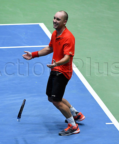 5th February 2017, Fraport Arena, Frankfurt, Germany; Davis Cup World Group 1st Round; Germany versus Belgium; Steve Darcis of Belgium wins his match against Alexander Zverev of Germany ; Belgium won the match 4-1 to progress to the next round