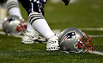 18 November 2007: A New England Patriots Helmet lies on the turf as the team stretches out prior to a game against the Buffalo Bills at Ralph Wilson Stadium in Orchard Park, NY. The Patriots defeated the Bills 56-10 in their second meeting of the season...Mandatory Photo Credit: Ed Wolfstein Photo