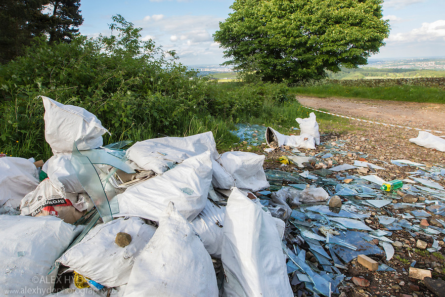 Fly tipping, Peak DIstrict National Park, Derbyshire, UK.
