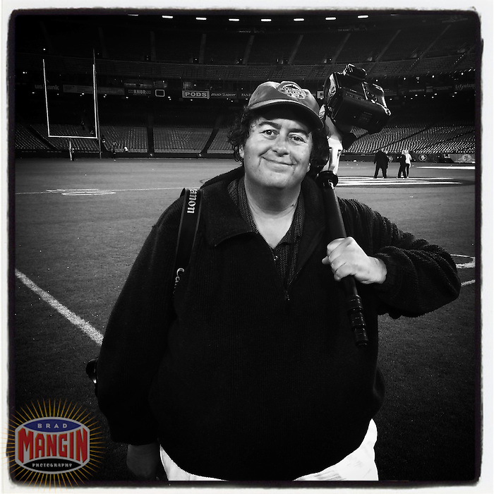 SAN FRANCISCO, CA - JULY 12: Instagram of photographer Brad Mangin after the Legends of Candlestick flag football game at Candlestick Park on July 12, 2014 in San Francisco, California. Photo by Stan Pechner