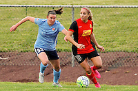 Piscataway, NJ, May 7, 2016.  Erin Simon (33) of Sky Blue FC defends Adriana Leon (19) of the Western New York Flash.  The Western New York Flash defeated Sky Blue FC, 2-1, in a National Women's Soccer League (NWSL) match at Yurcak Field.