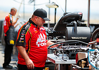 Jul 22, 2018; Morrison, CO, USA; Crew members for NHRA top fuel driver Doug Kalitta during the Mile High Nationals at Bandimere Speedway. Mandatory Credit: Mark J. Rebilas-USA TODAY Sports